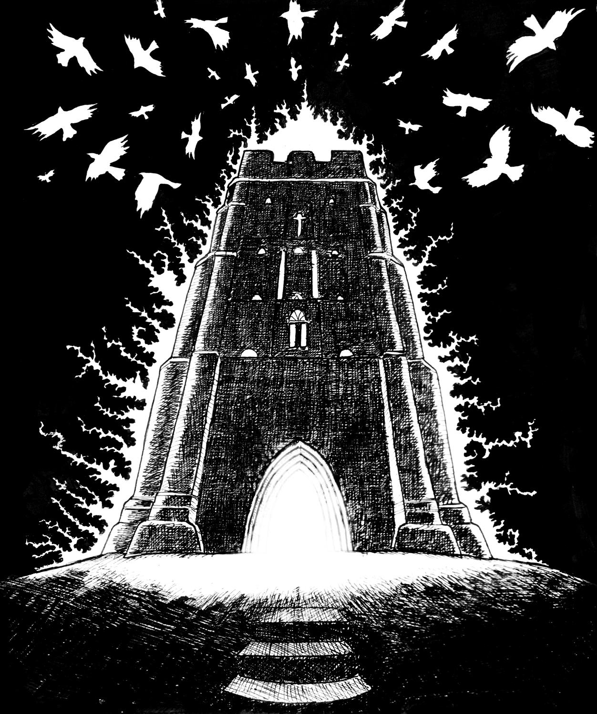 Glastombury, the Tor - ink